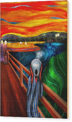 Steampunk - The Scream Wood Print by Mike Savad
