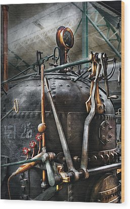 Steampunk - The Steam Engine Wood Print by Mike Savad