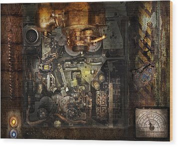 Steampunk - The Turret Computer  Wood Print by Mike Savad