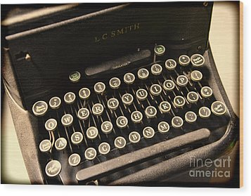 Steampunk - Typewriter - The Age Of Industry Wood Print by Paul Ward
