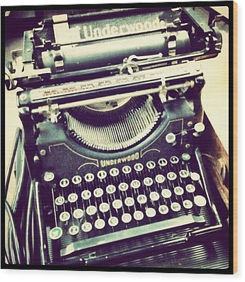 #steampunk #typewriter #writeshit Wood Print by Devin Muylle