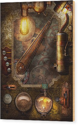 Steampunk - Victorian Fuse Box Wood Print by Mike Savad