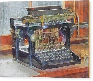 Steampunk - Vintage Typewriter Wood Print by Susan Savad