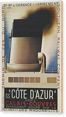 Steamship Travel Poster Wood Print by Granger