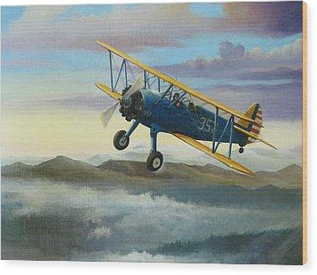 Stearman Biplane Wood Print by Stuart Swartz