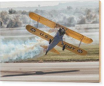 Stearman Model 75 Biplane Wood Print by Alan Toepfer