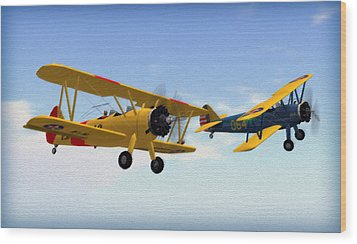 Stearmans At Play Wood Print by Mark Weller