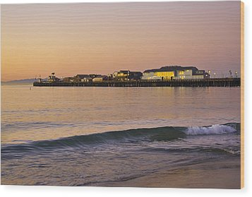 Stearns Wharf At Dawn Wood Print