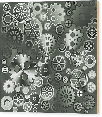 Steel Gears Wood Print by Gaspar Avila