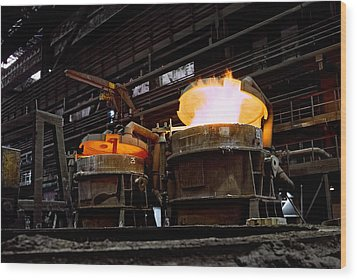 Steel Industry In Smederevo. Serbia Wood Print by Juan Carlos Ferro Duque