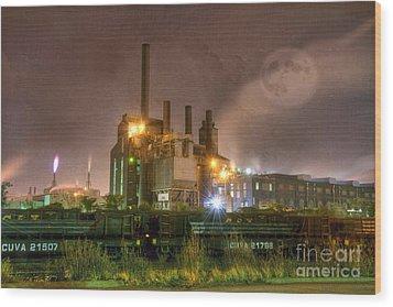 Steel Mill At Night Wood Print by Juli Scalzi