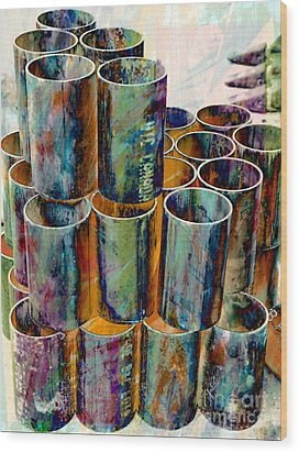 Steel Pipes Wood Print by Lilliana Mendez