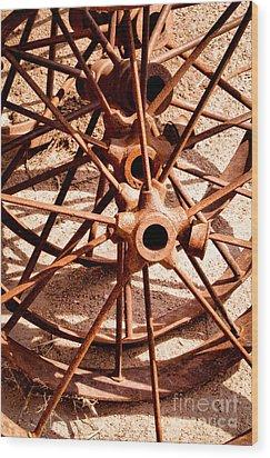 Steel Spokes Wood Print by Lawrence Burry