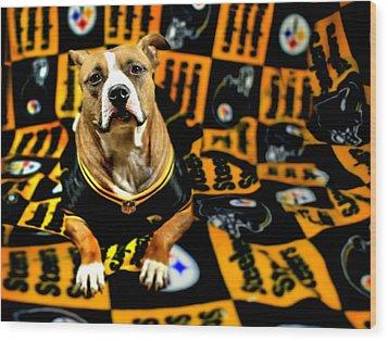 Pitbull Rescue Dog Football Fanatic Wood Print by Shelley Neff