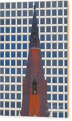 Wood Print featuring the photograph Steeple And Office Building by Janette Boyd