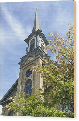 Wood Print featuring the photograph Steeple Church Arch Windows by Becky Lupe
