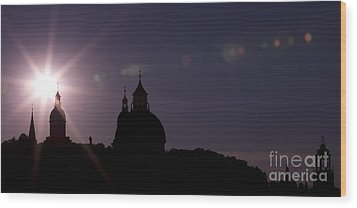 Steeples At Sunset Wood Print by Maurizio Bacciarini