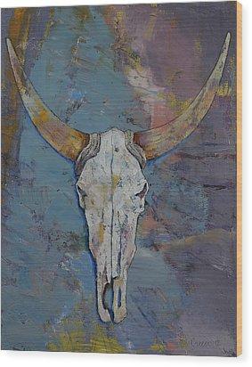 Steer Skull Wood Print by Michael Creese