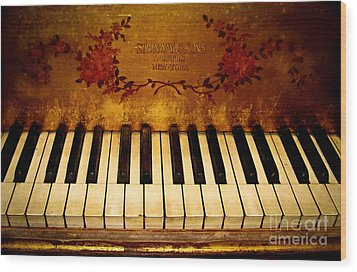 Steinway Golden Grand  Wood Print by Colleen Kammerer