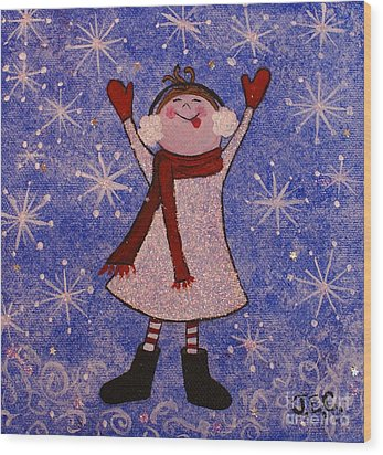 Wood Print featuring the painting Stella And Snowflake Kisses by Jane Chesnut