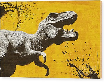 Stencil Trex Wood Print by Pixel Chimp