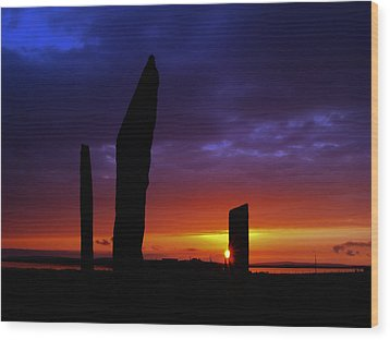 Stennes Sunset Wood Print by Steve Watson