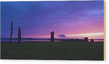 Stenness Sunset 3 Wood Print by Steve Watson
