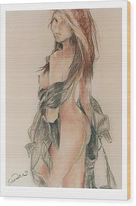 Standing Nude 1 Wood Print by Sciandra