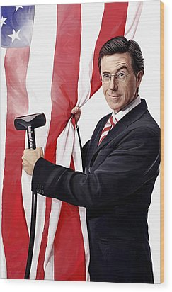 Wood Print featuring the painting Stephen Colbert Artwork by Sheraz A