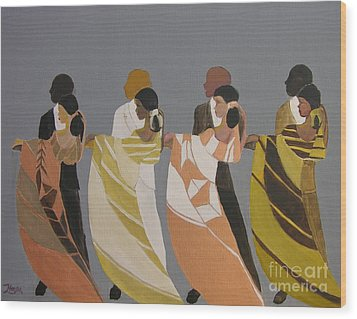 Stepping Wood Print by Barbara Hayes