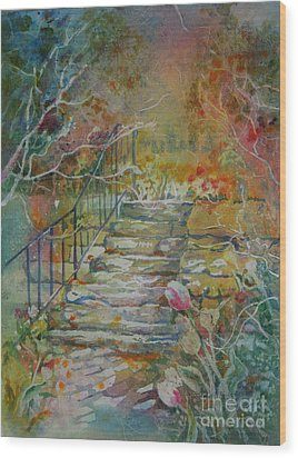 Steps And Tulips Wood Print