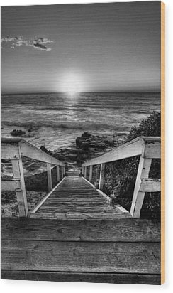 Steps To The Sun  Black And White Wood Print by Peter Tellone