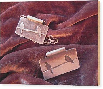 Sterling Silver Bird Pendants Wood Print