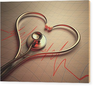 Stethoscope In Heart Shape Wood Print by Ktsdesign