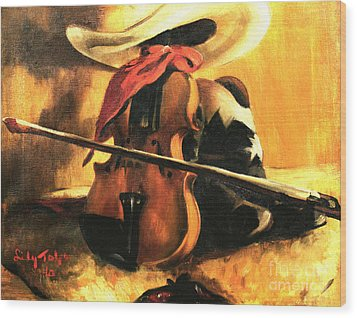 Stetson - Fiddle - Boots  Wood Print