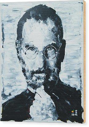 Steve Jobs Wood Print by Michael Leporati