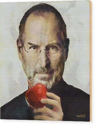 Steve Jobs  Wood Print