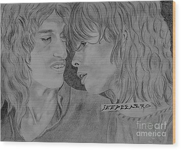 Steven Tyler And Joe Perry Image Pictures Wood Print by Jeepee Aero