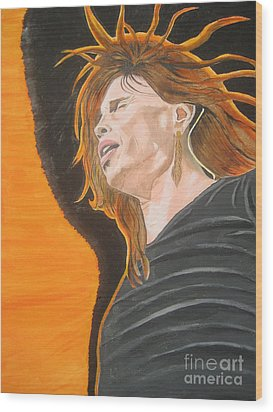 Wood Print featuring the painting Steven Tyler Art Painting by Jeepee Aero