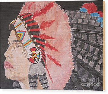 Wood Print featuring the painting Steven Tyler As A Chrerokee Indian by Jeepee Aero