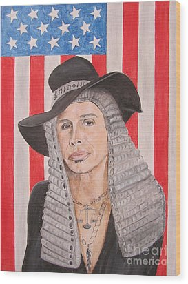Steven Tyler As A Judge Painting Wood Print by Jeepee Aero