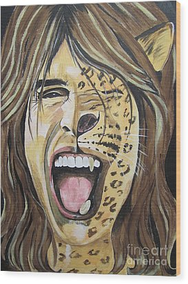 Wood Print featuring the painting Steven Tyler As A Wild Cat by Jeepee Aero