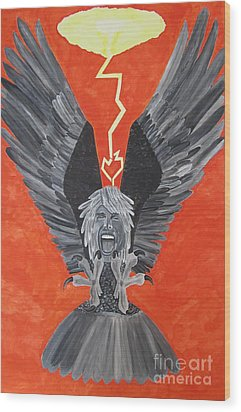 Wood Print featuring the painting Steven Tyler As An Eagle by Jeepee Aero