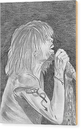 Steven Tyler Concert Drawing Wood Print by Jeepee Aero
