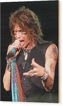 Wood Print featuring the photograph Steven Tyler by Don Olea