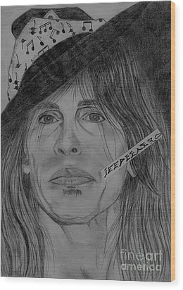 Wood Print featuring the drawing Steven Tyler Portrait Drawing by Jeepee Aero