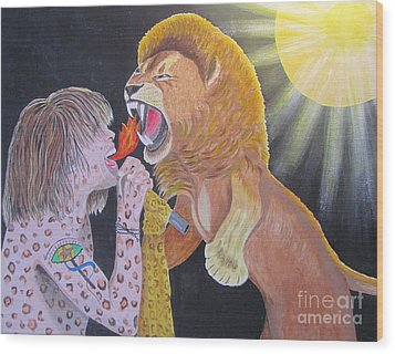 Wood Print featuring the painting Steven Tyler Versus Lion by Jeepee Aero