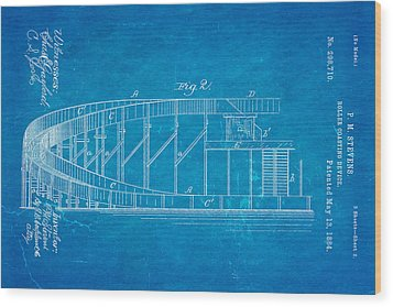 Stevens Roller Coaster Patent Art  2 1884 Blueprint Wood Print by Ian Monk