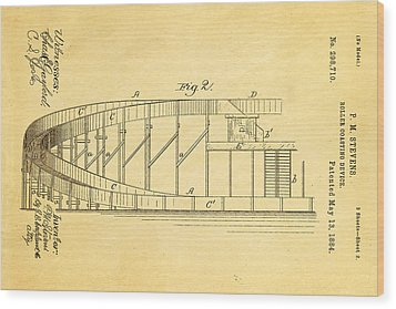 Stevens Roller Coaster Patent Art  2 1884 Wood Print by Ian Monk