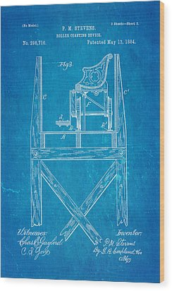 Stevens Roller Coaster Patent Art  3 1884 Blueprint Wood Print by Ian Monk